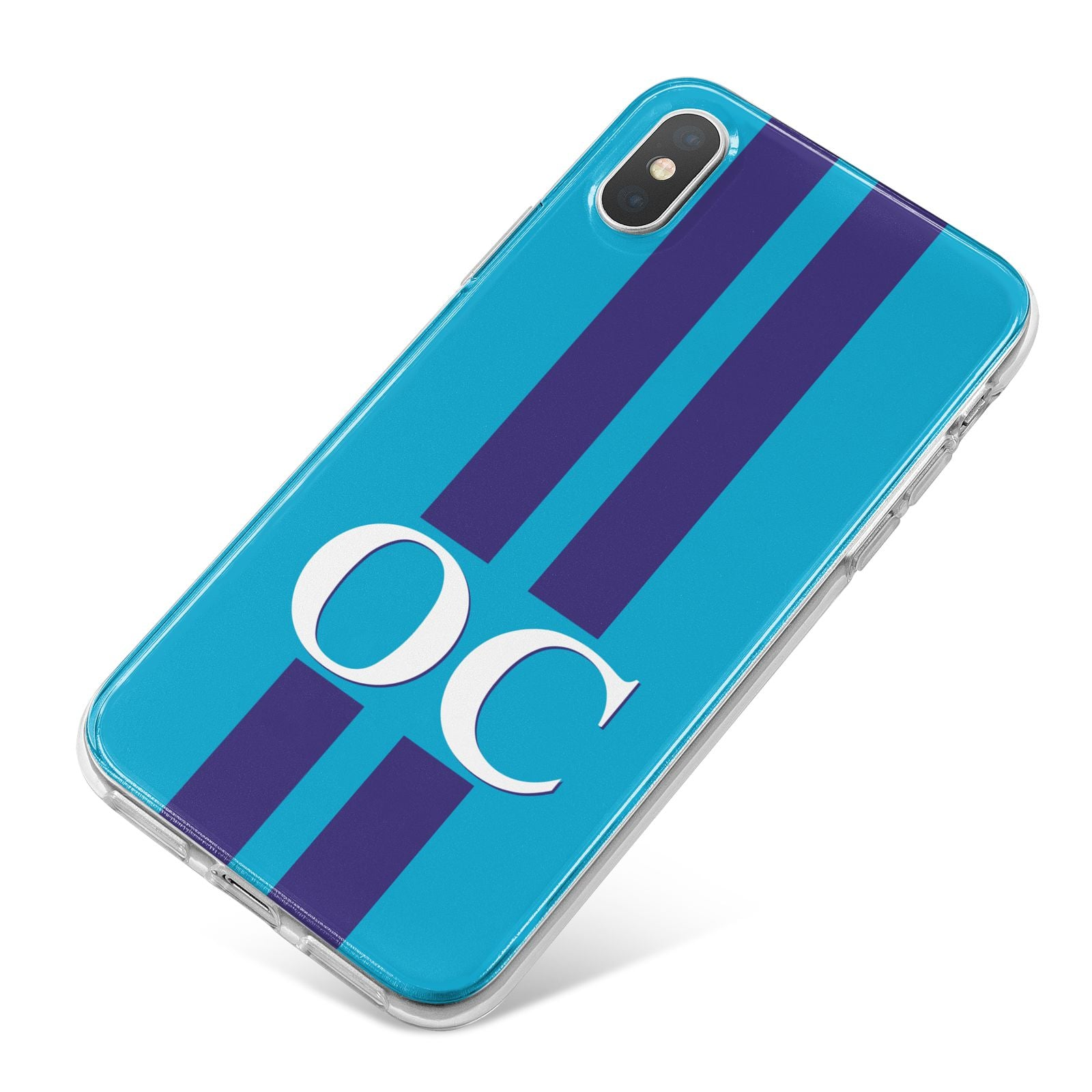 Turquoise Personalised iPhone X Bumper Case on Silver iPhone