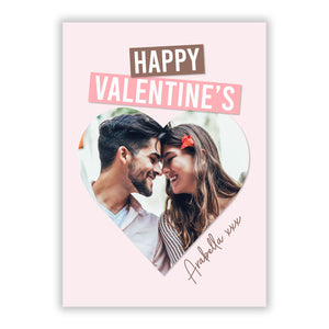 Valentine s Heart Photo with Name A5 Flat Greetings Card