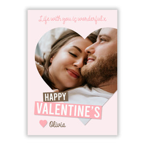 Valentine s Loving Life Photo with Name A5 Flat Greetings Card