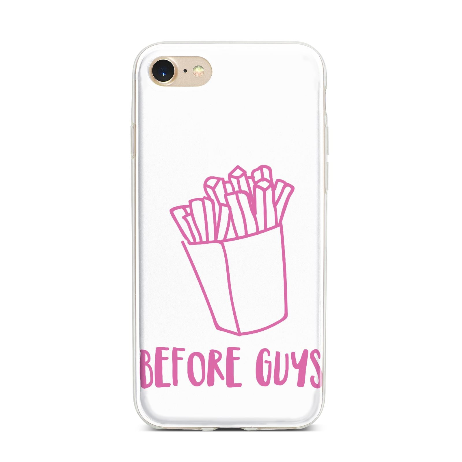 Valentines Fries Before Guys iPhone 7 Bumper Case on Gold iPhone