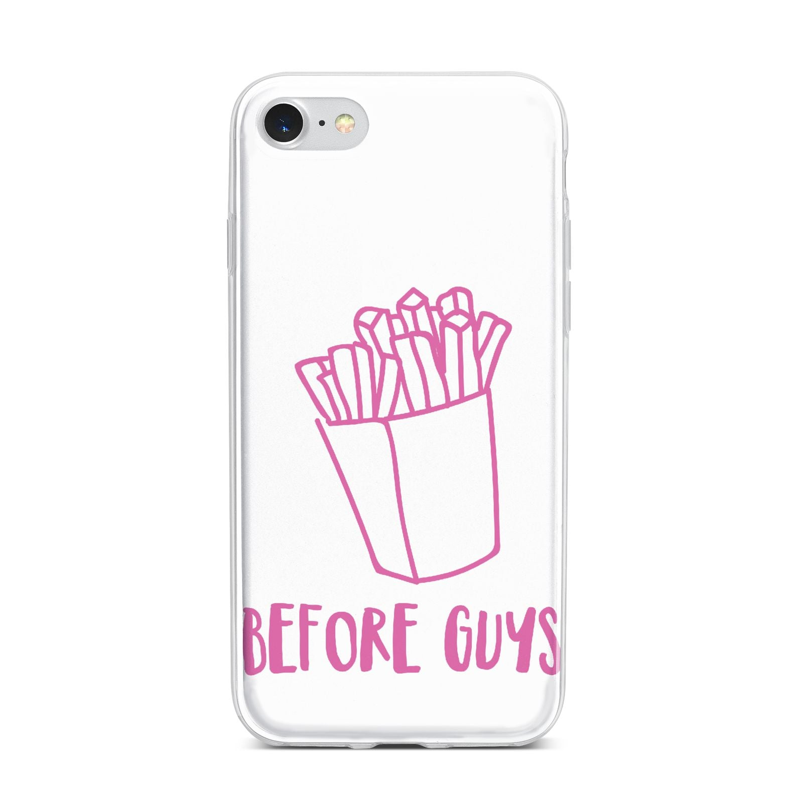 Valentines Fries Before Guys iPhone 7 Bumper Case on Silver iPhone