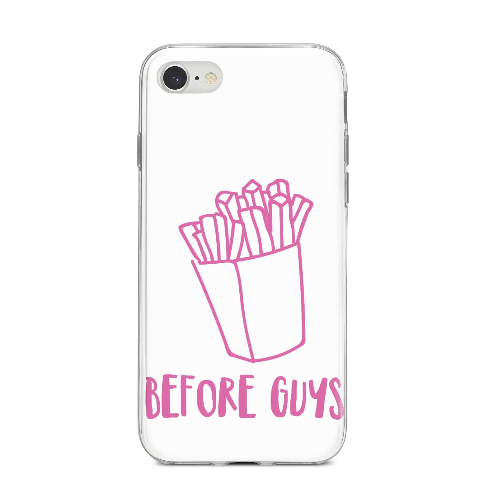 Valentines Fries Before Guys iPhone 8 Bumper Case on Silver iPhone