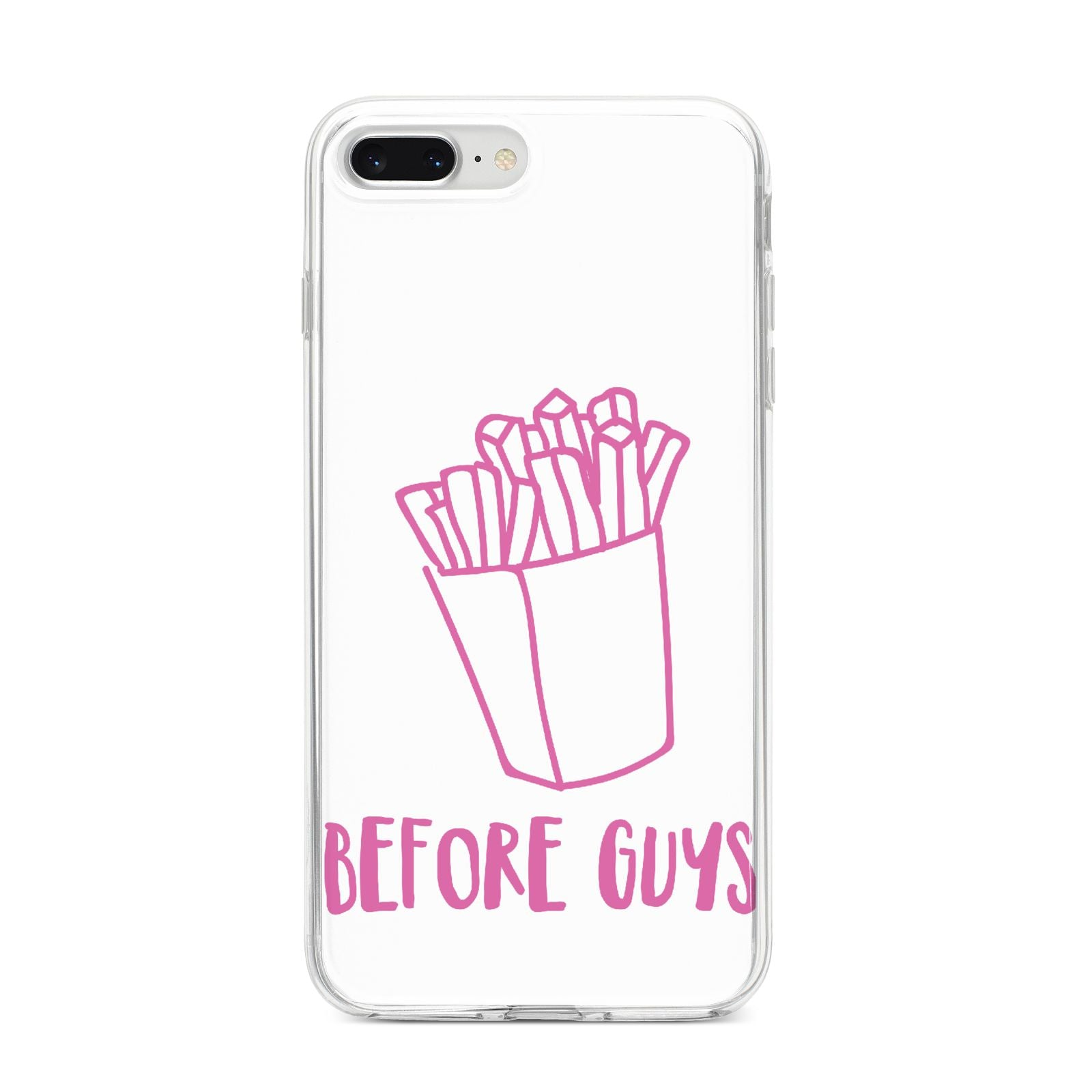 Valentines Fries Before Guys iPhone 8 Plus Bumper Case on Silver iPhone