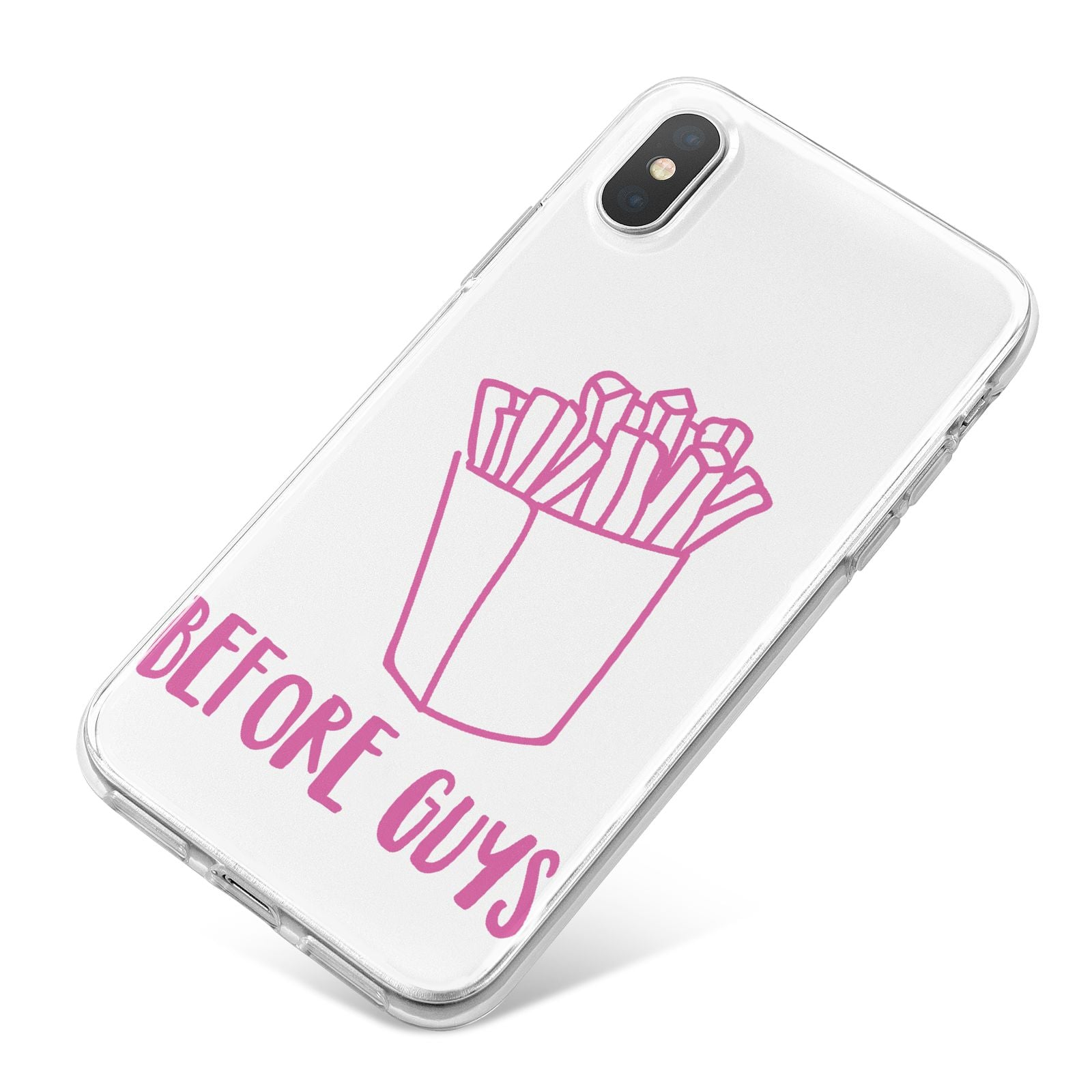 Valentines Fries Before Guys iPhone X Bumper Case on Silver iPhone