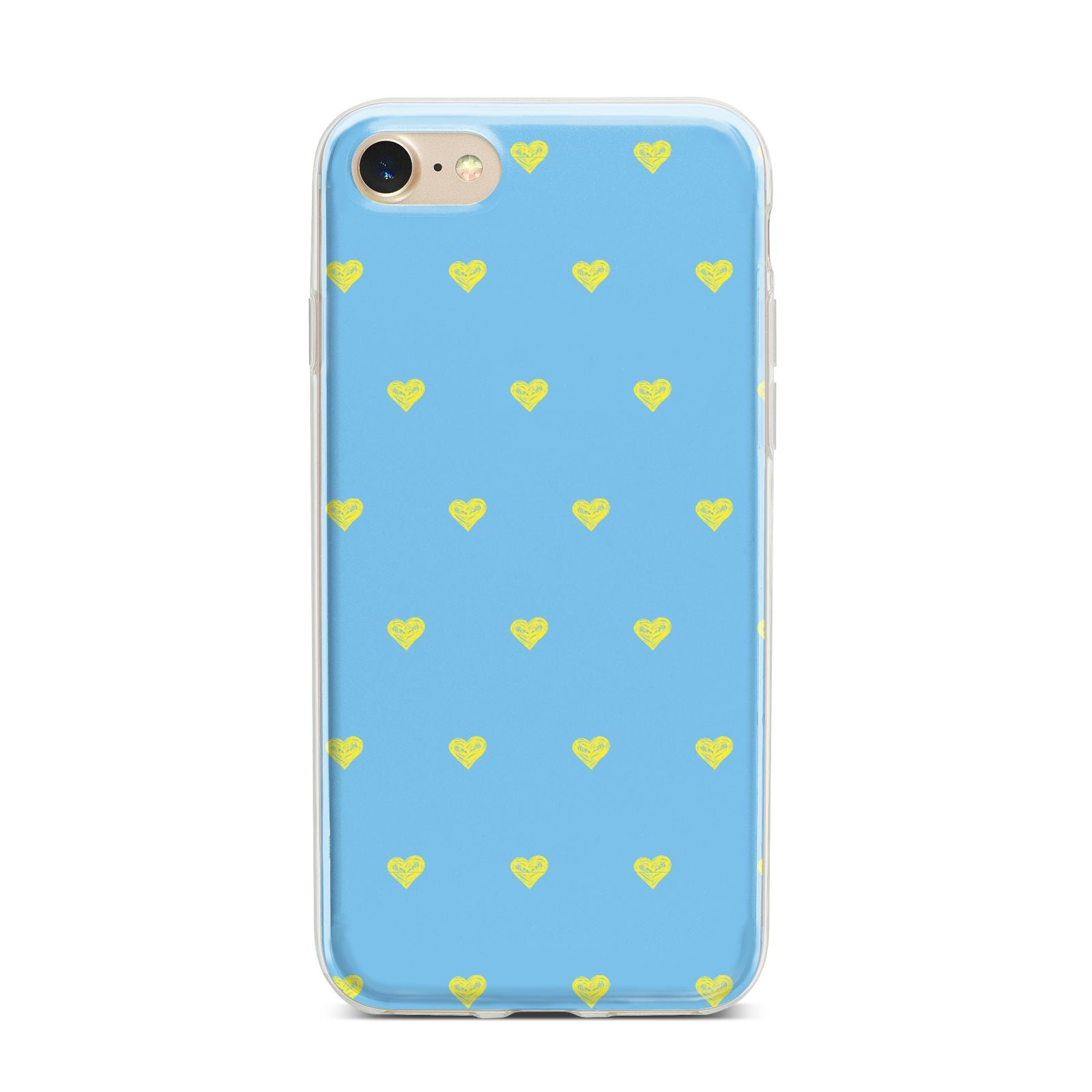 Valentines Hearts Polka Dot iPhone 7 Bumper Case on Gold iPhone
