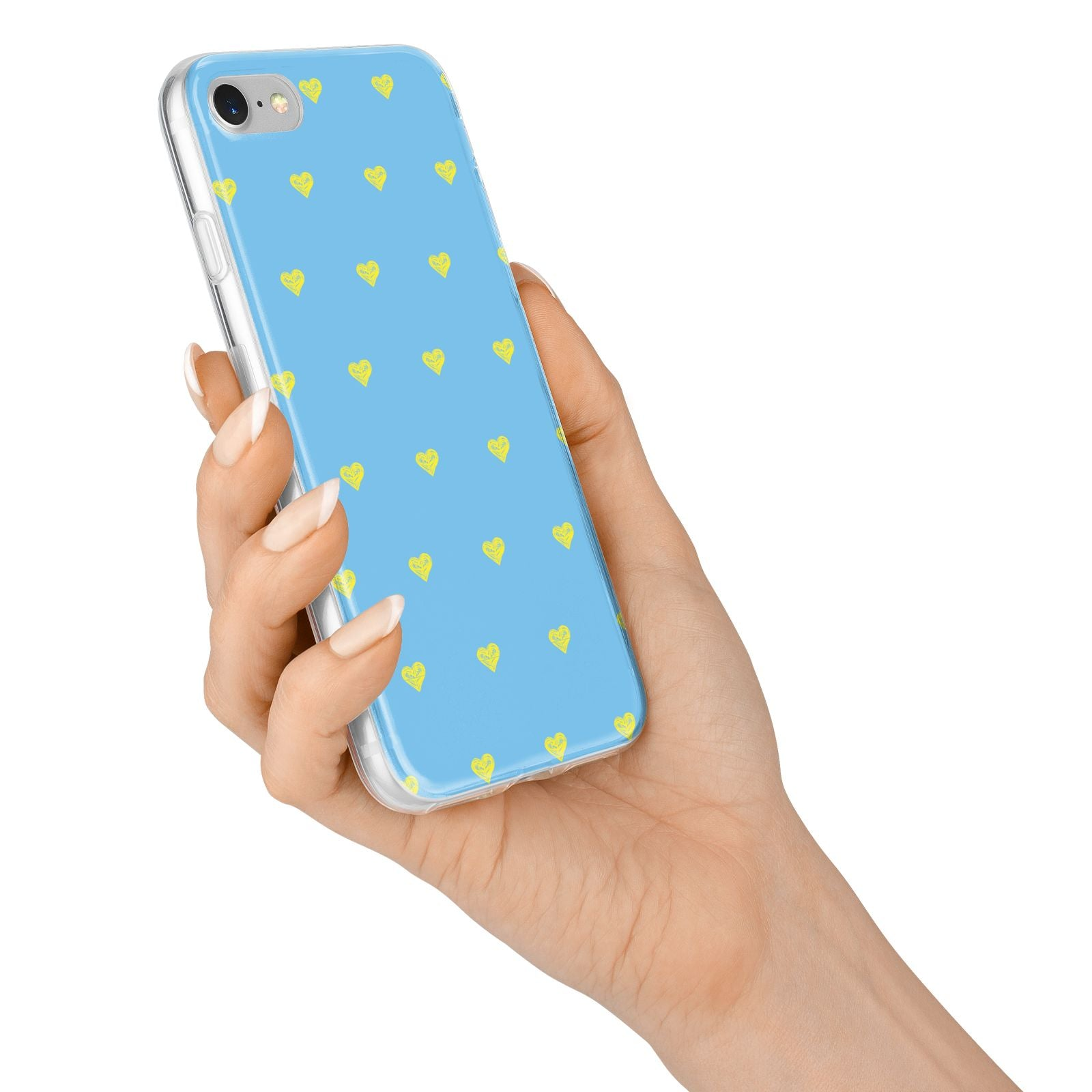 Valentines Hearts Polka Dot iPhone 7 Bumper Case on Silver iPhone Alternative Image