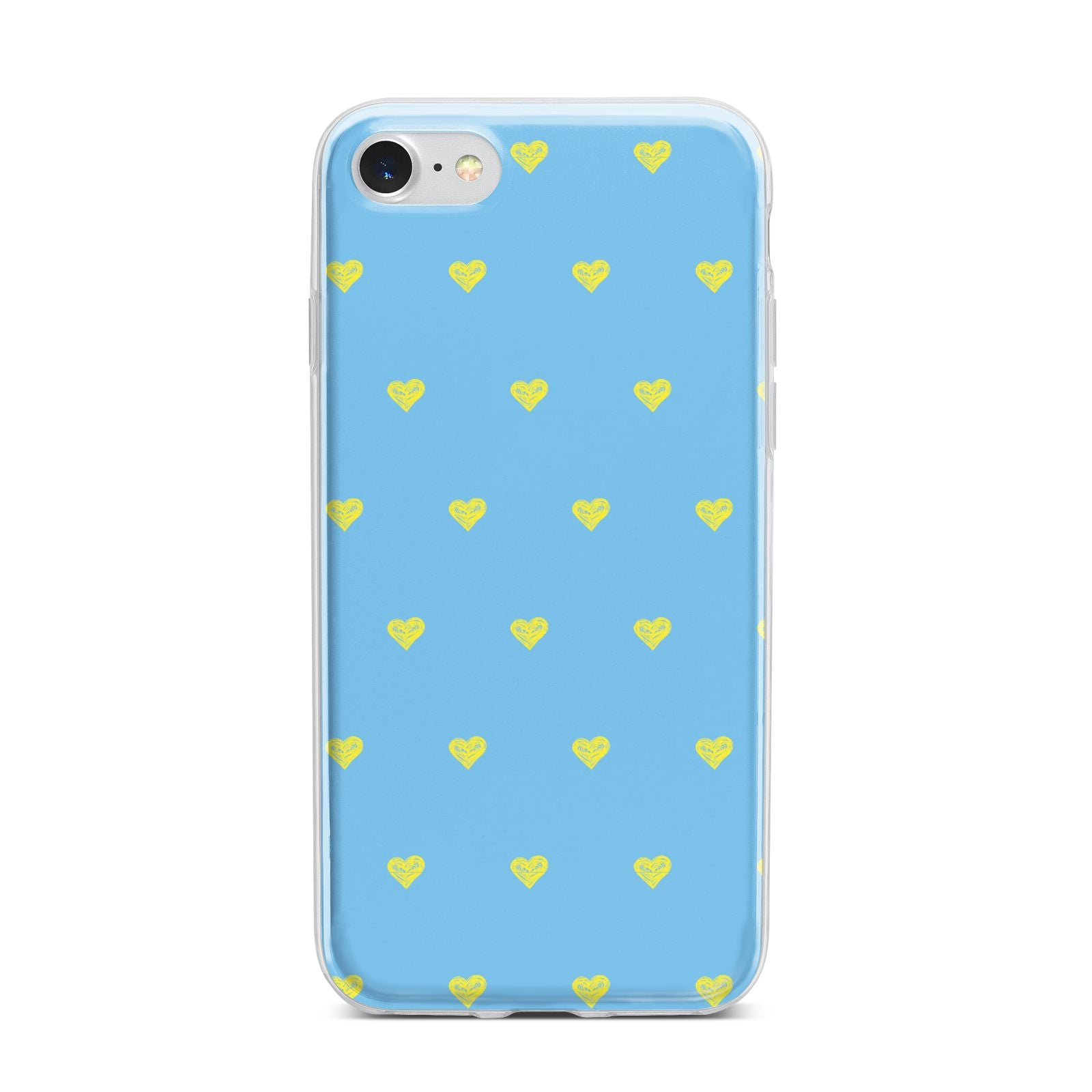 Valentines Hearts Polka Dot iPhone 7 Bumper Case on Silver iPhone