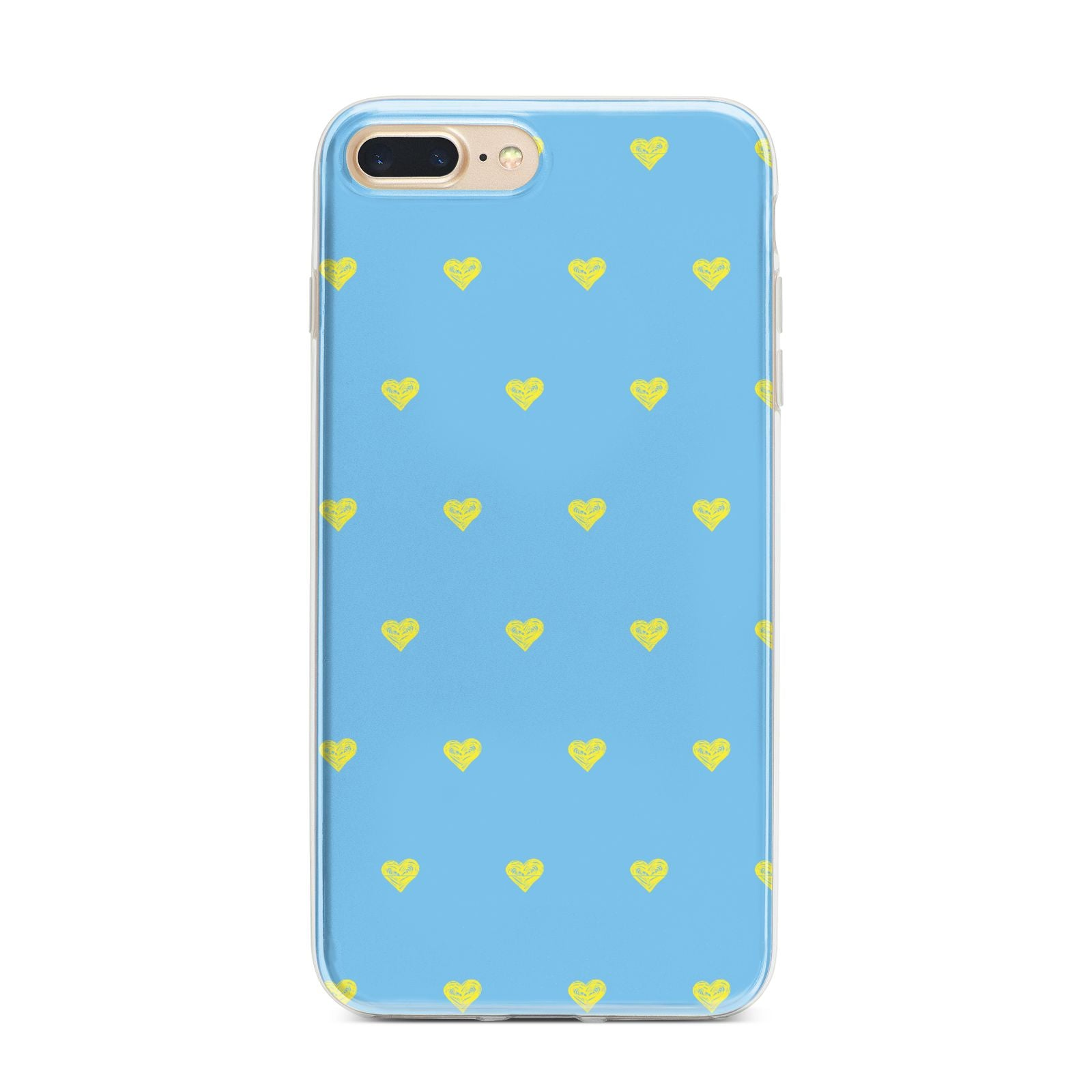 Valentines Hearts Polka Dot iPhone 7 Plus Bumper Case on Gold iPhone