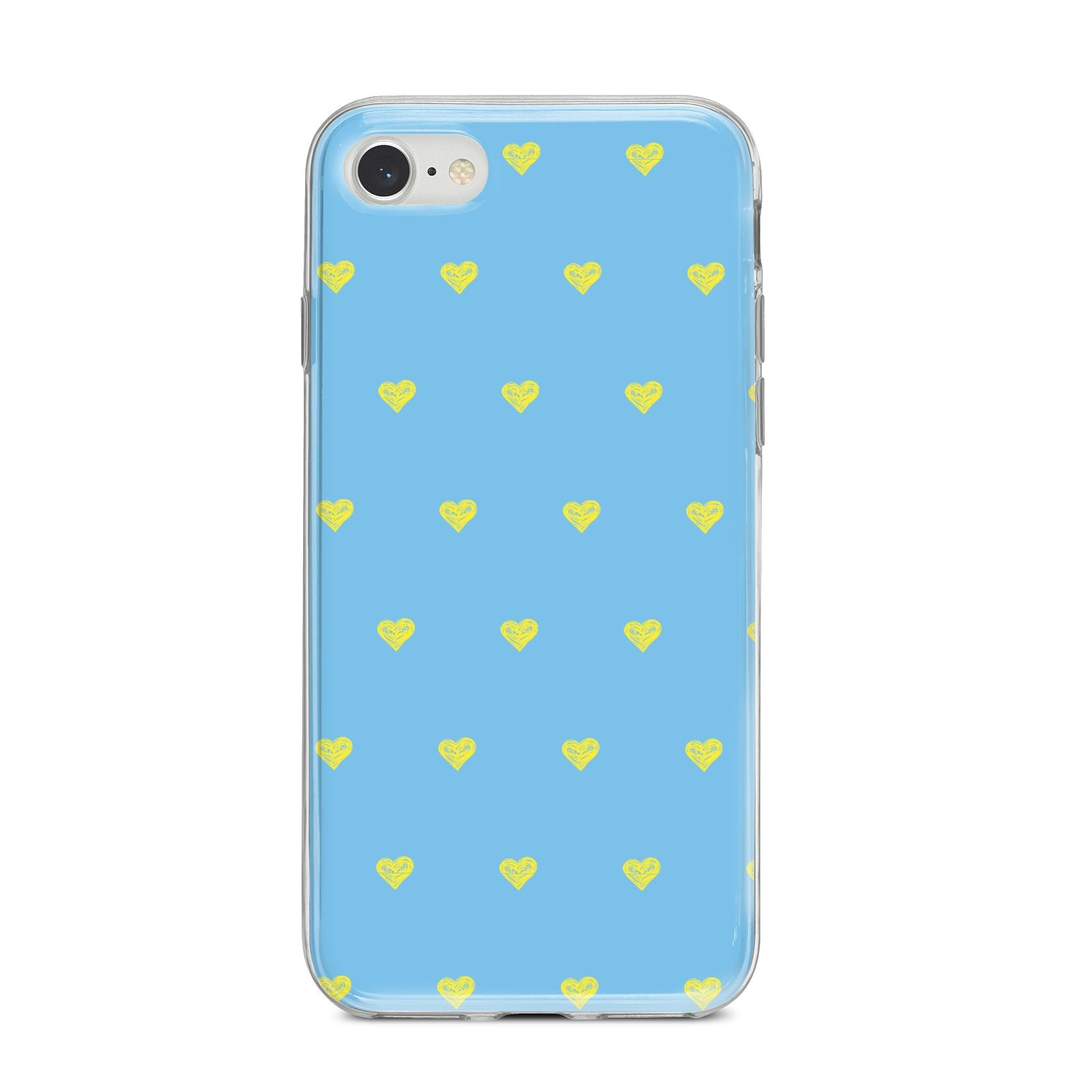 Valentines Hearts Polka Dot iPhone 8 Bumper Case on Silver iPhone