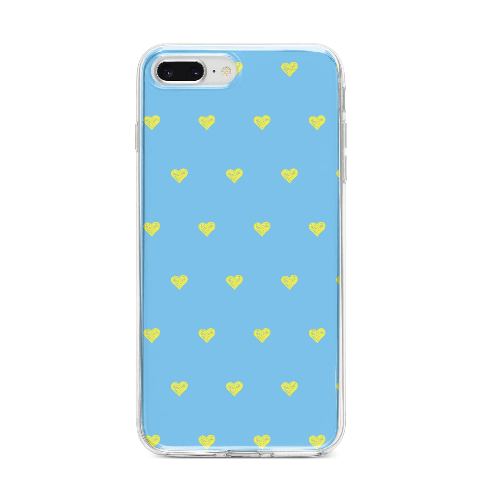 Valentines Hearts Polka Dot iPhone 8 Plus Bumper Case on Silver iPhone
