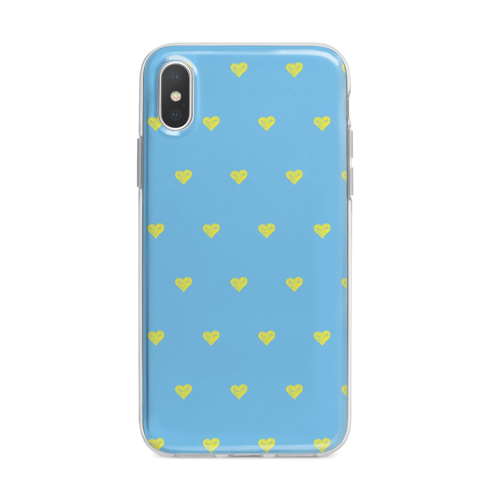 Valentines Hearts Polka Dot iPhone X Bumper Case on Silver iPhone Alternative Image 1