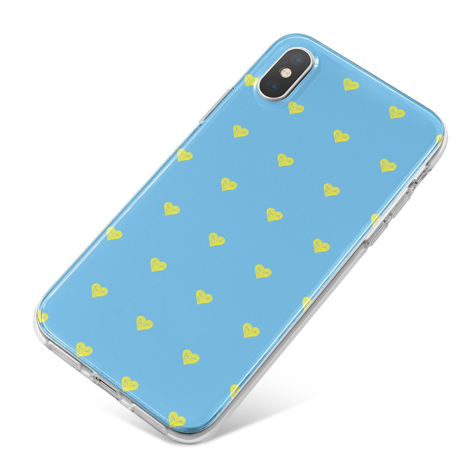 Valentines Hearts Polka Dot iPhone X Bumper Case on Silver iPhone