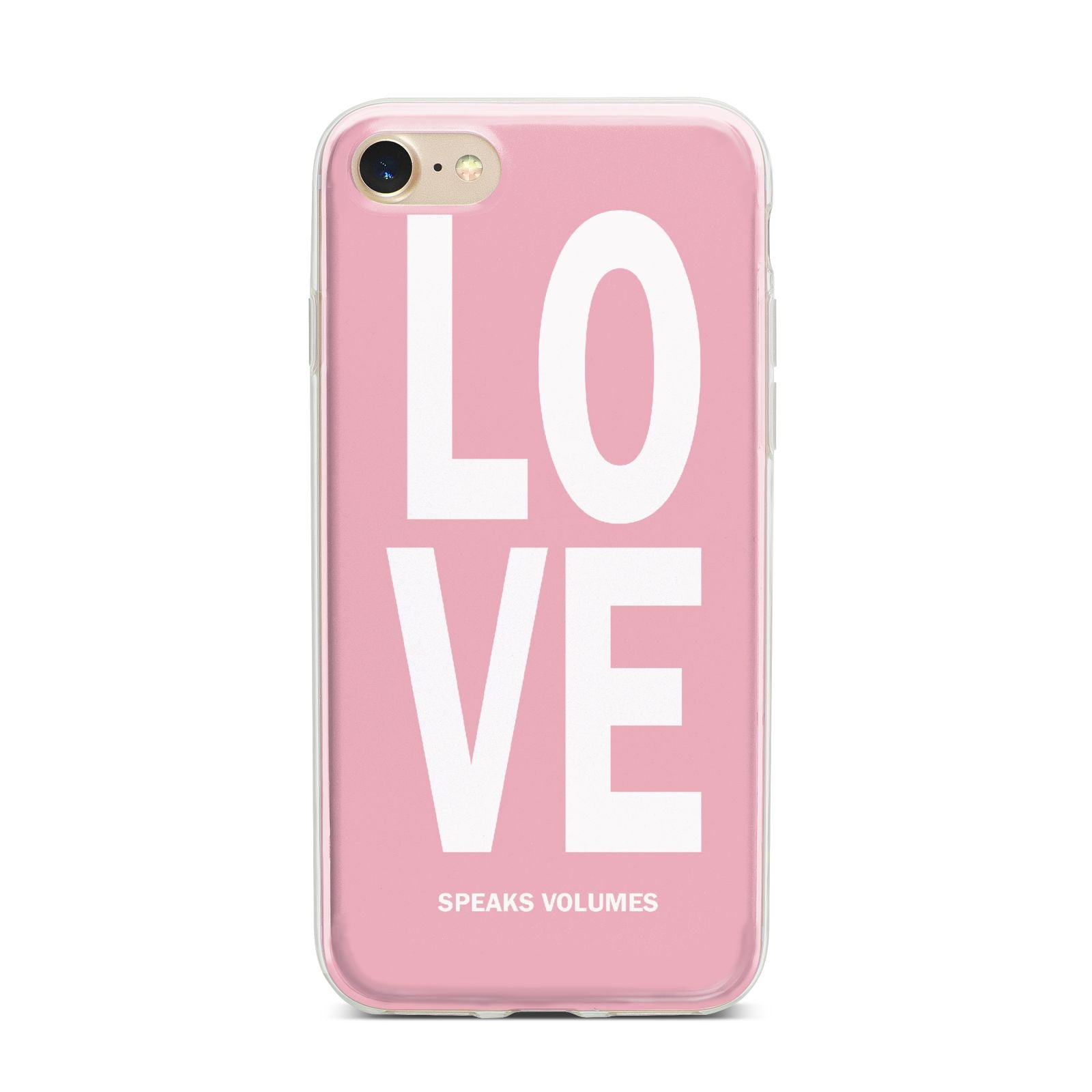 Valentines Love Speaks Volumes iPhone 7 Bumper Case on Gold iPhone