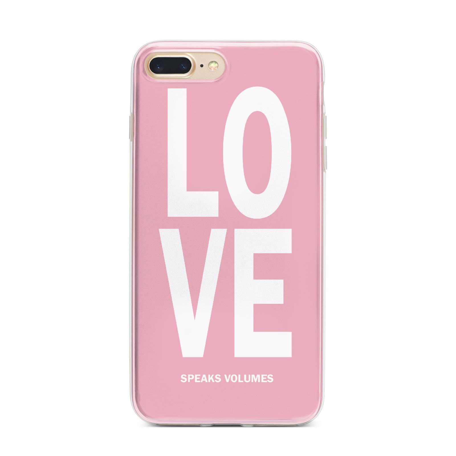 Valentines Love Speaks Volumes iPhone 7 Plus Bumper Case on Gold iPhone