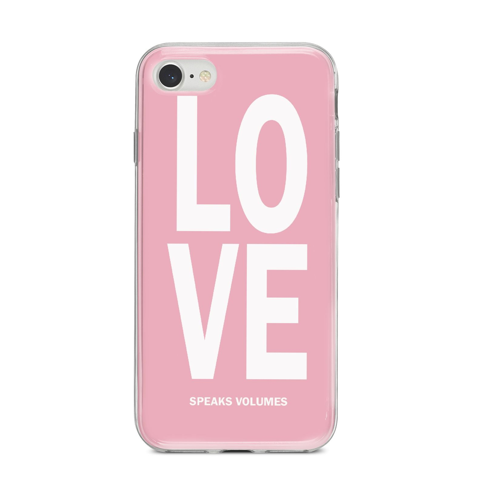 Valentines Love Speaks Volumes iPhone 8 Bumper Case on Silver iPhone