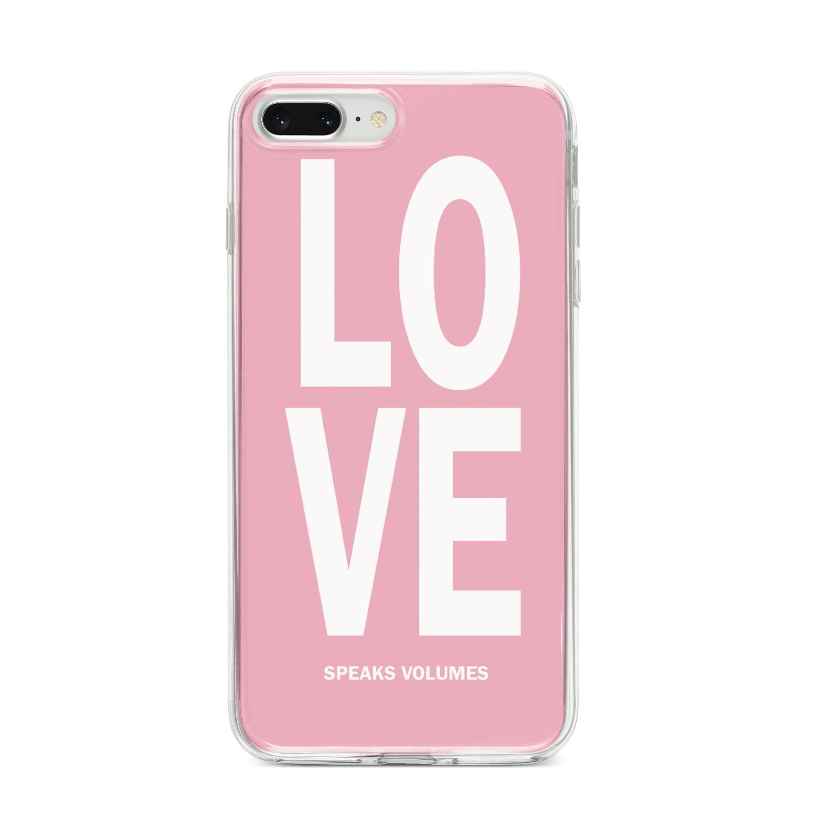 Valentines Love Speaks Volumes iPhone 8 Plus Bumper Case on Silver iPhone