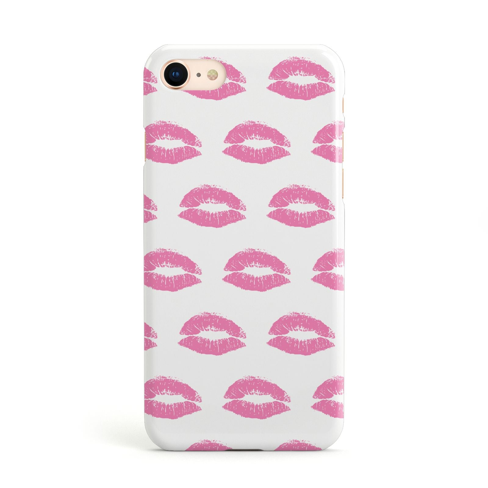 Valentines Pink Kisses Lips Apple iPhone Case