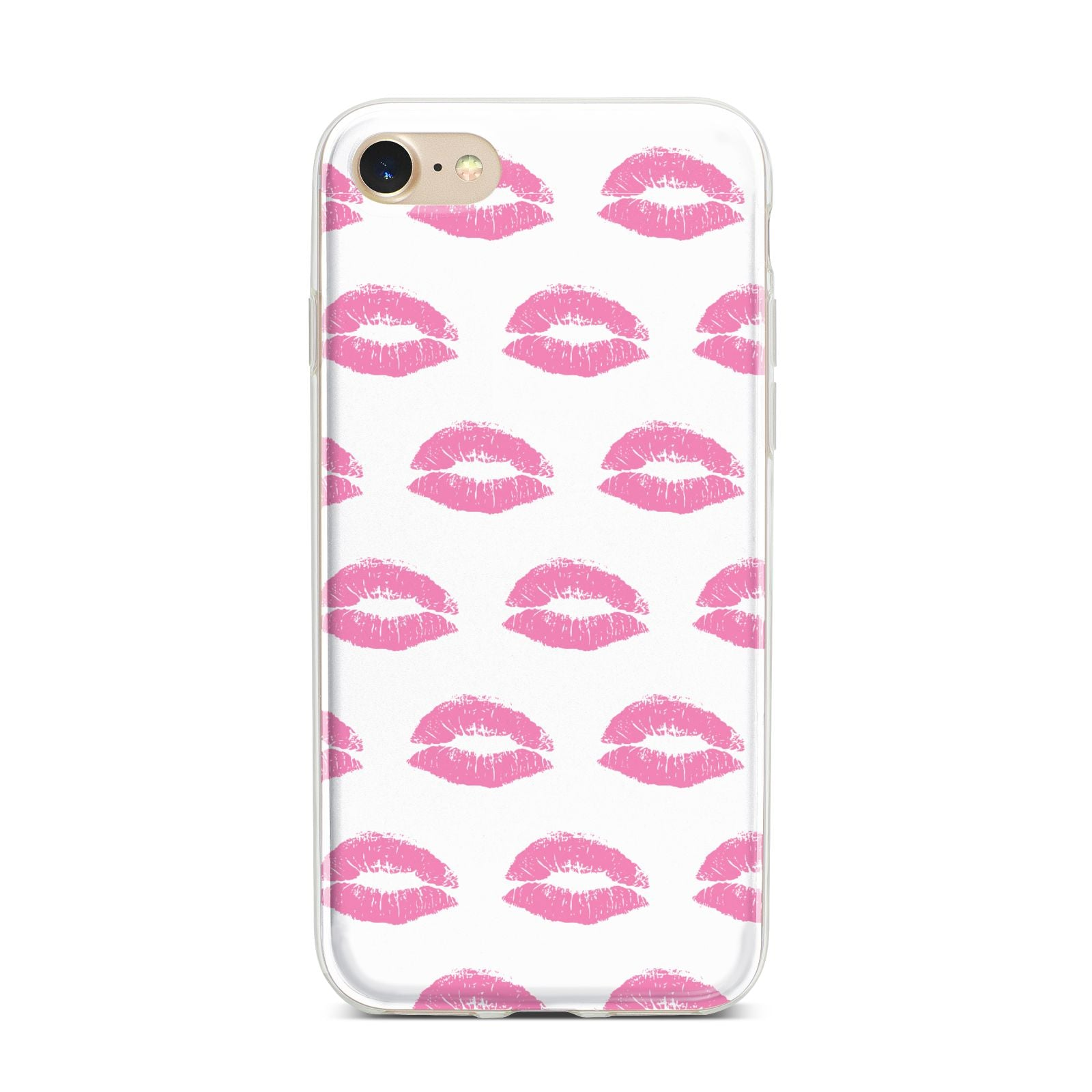 Valentines Pink Kisses Lips iPhone 7 Bumper Case on Gold iPhone