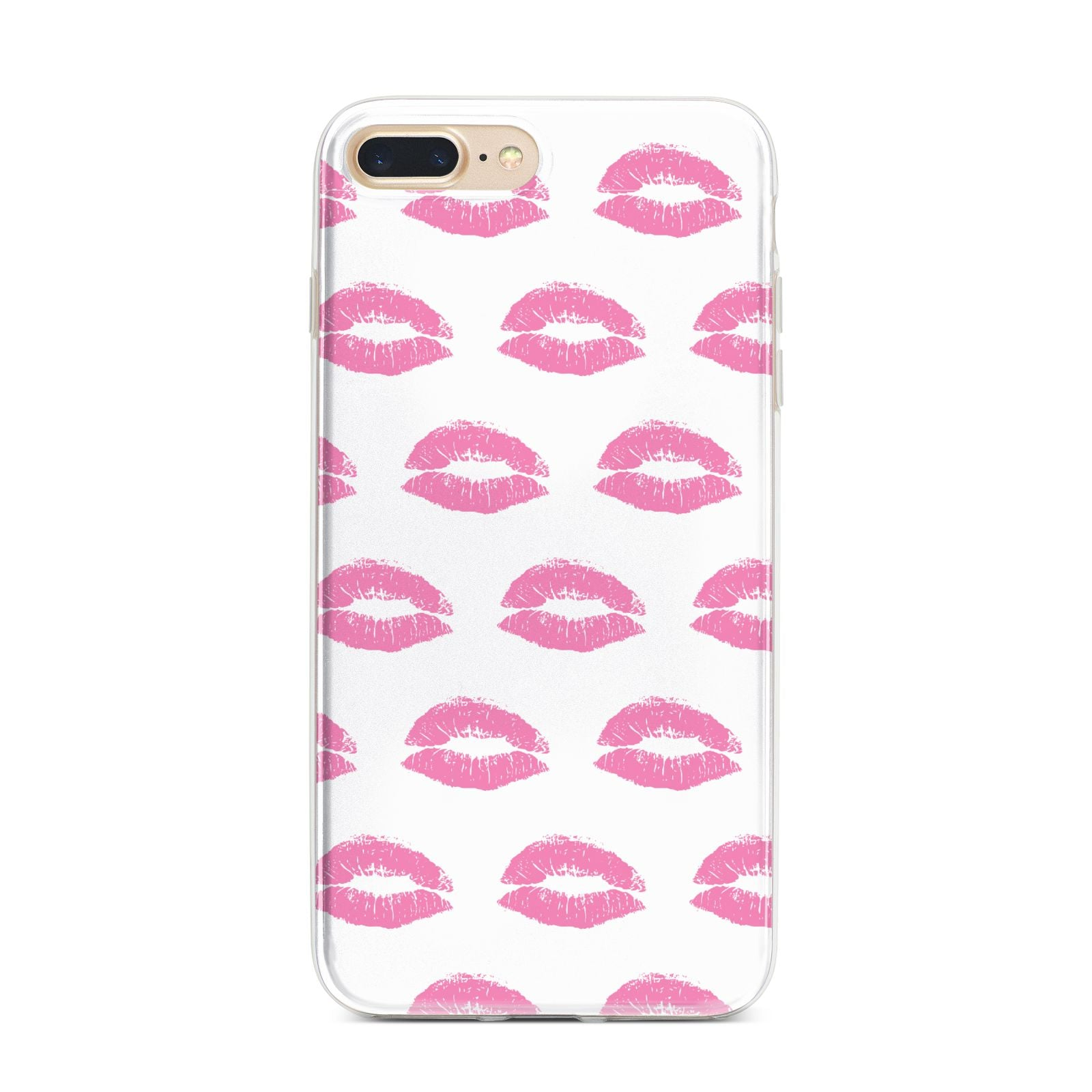 Valentines Pink Kisses Lips iPhone 7 Plus Bumper Case on Gold iPhone