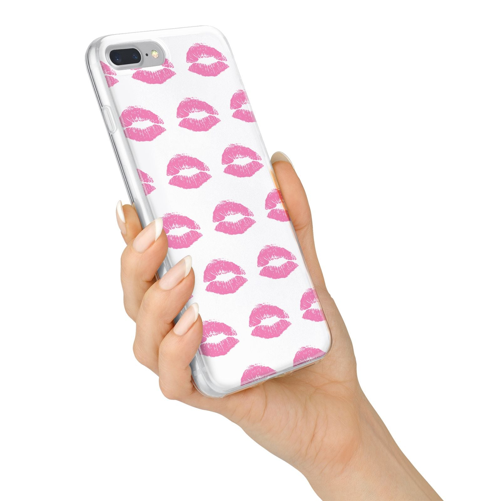 Valentines Pink Kisses Lips iPhone 7 Plus Bumper Case on Silver iPhone Alternative Image