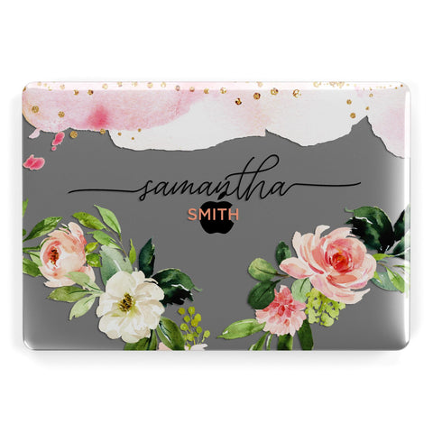 Watercolour Roses Personalised Name Macbook Case