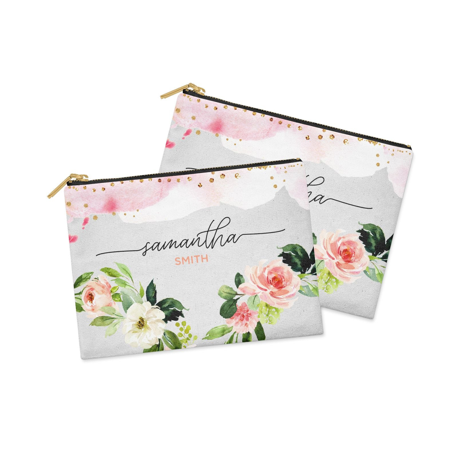 Watercolour Roses Personalised Name Clutch Bag Zipper Pouch Alternative View