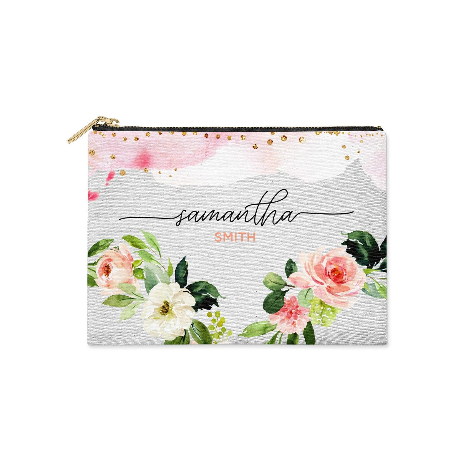 Watercolour Roses Personalised Name Clutch Bag Zipper Pouch
