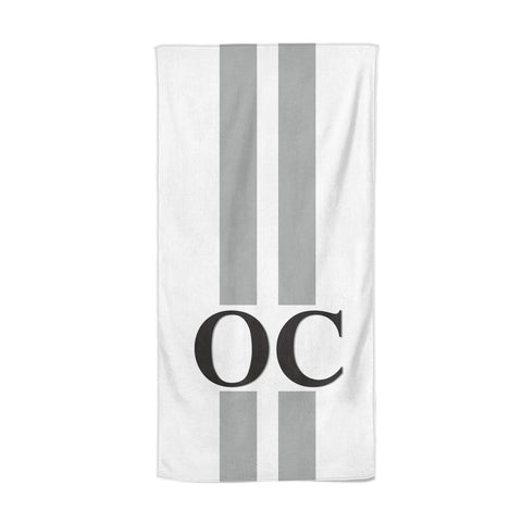 White Personalised Initials Beach Towel
