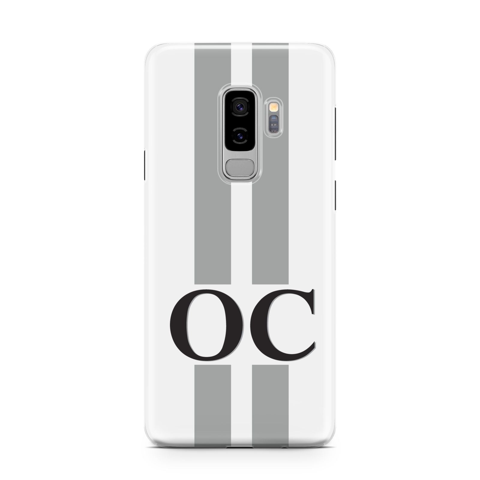 White Personalised Initials Samsung Galaxy S9 Plus Case on Silver phone
