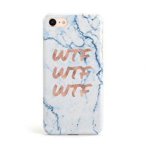 Wtf Rose Gold Blue Marble Effect Apple iPhone Case
