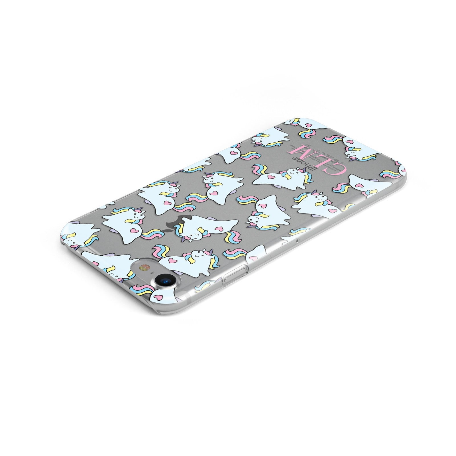 Baby Unicorn Transparent With Initials Apple iPhone Case Top Cutout