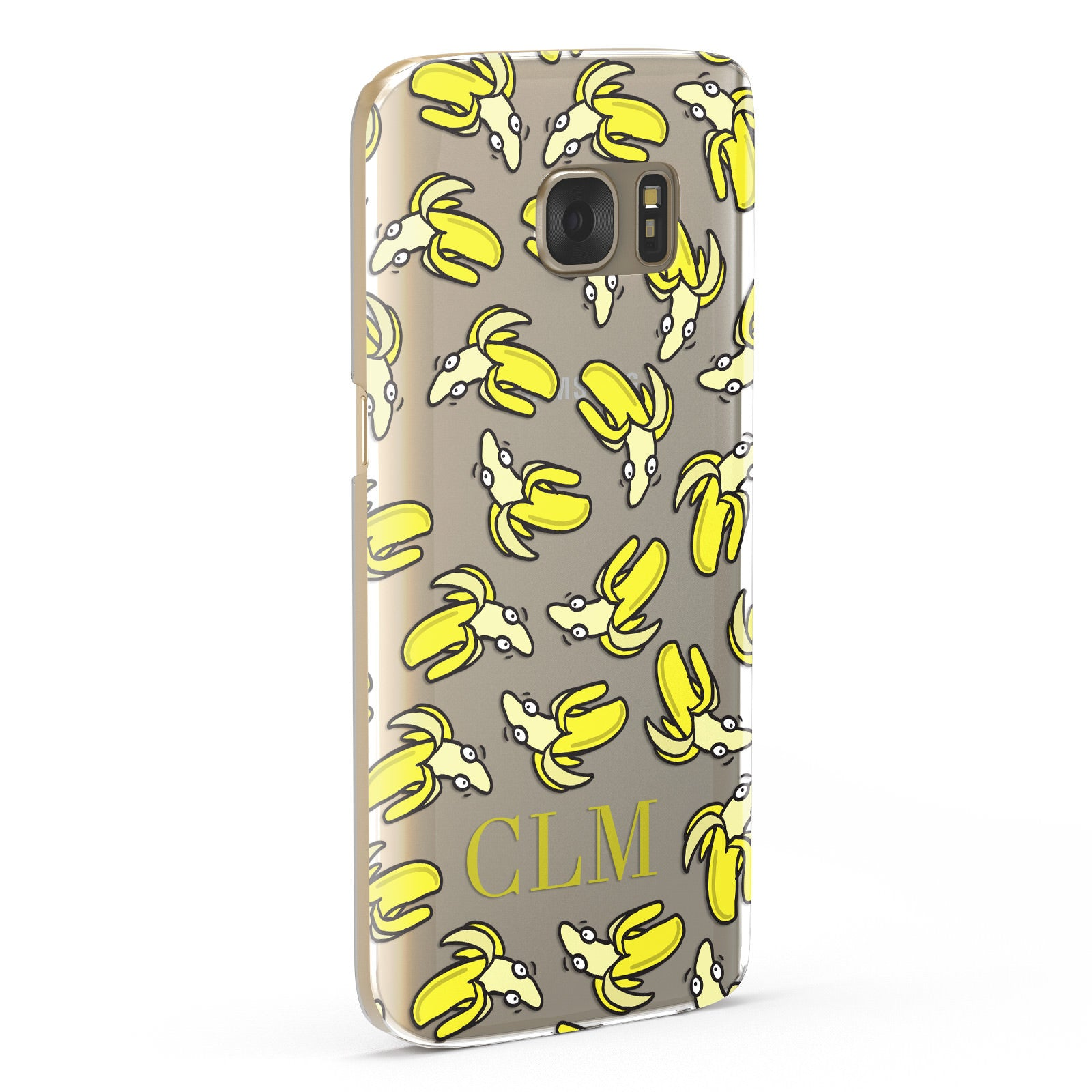 Personalised Banana Initials Clear Samsung Galaxy Case Fourty Five Degrees
