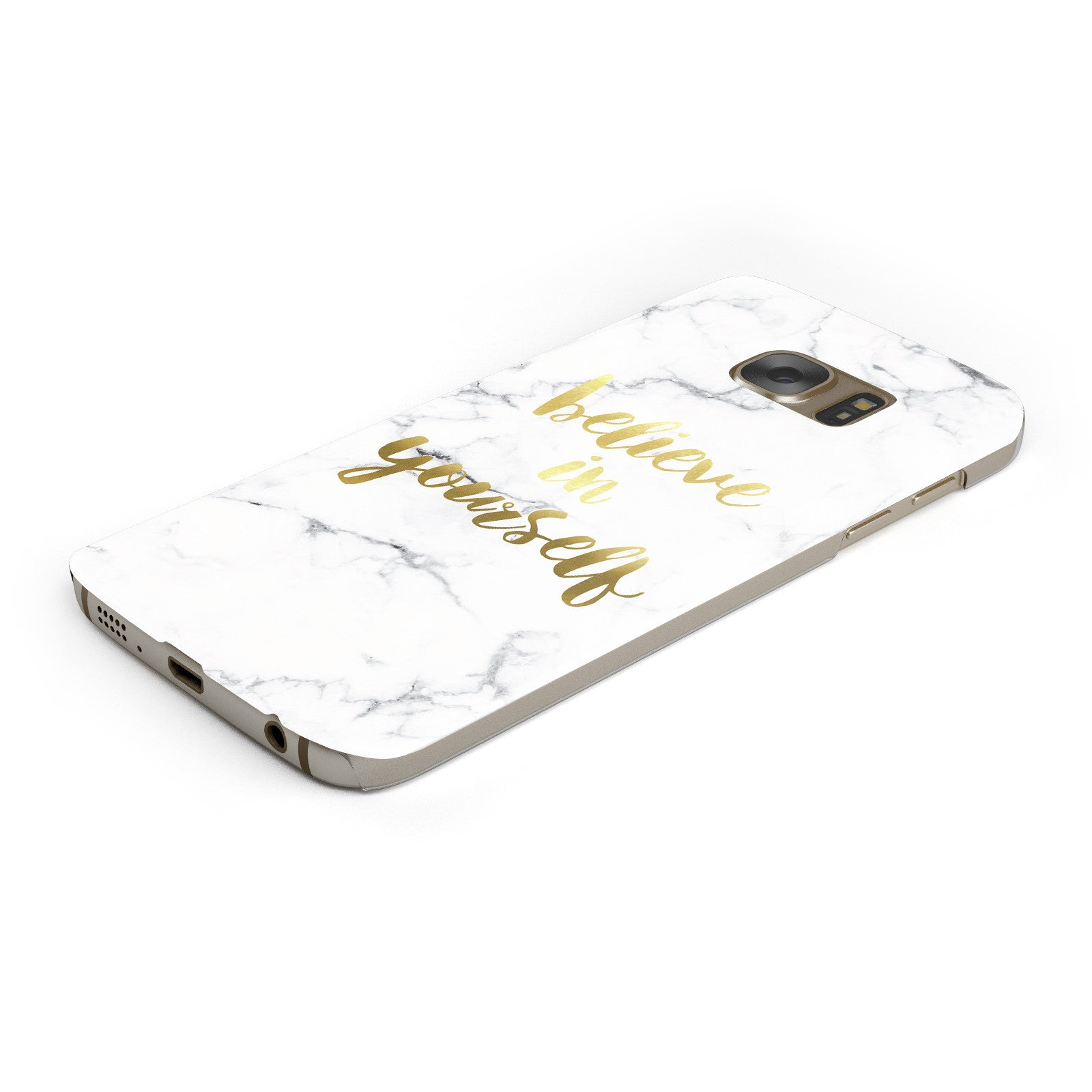 Believe In Yourself Gold Marble Samsung Galaxy Case Bottom Cutout