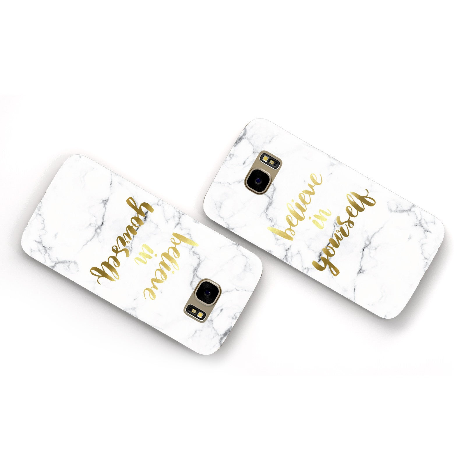Believe In Yourself Gold Marble Samsung Galaxy Case Flat Overview