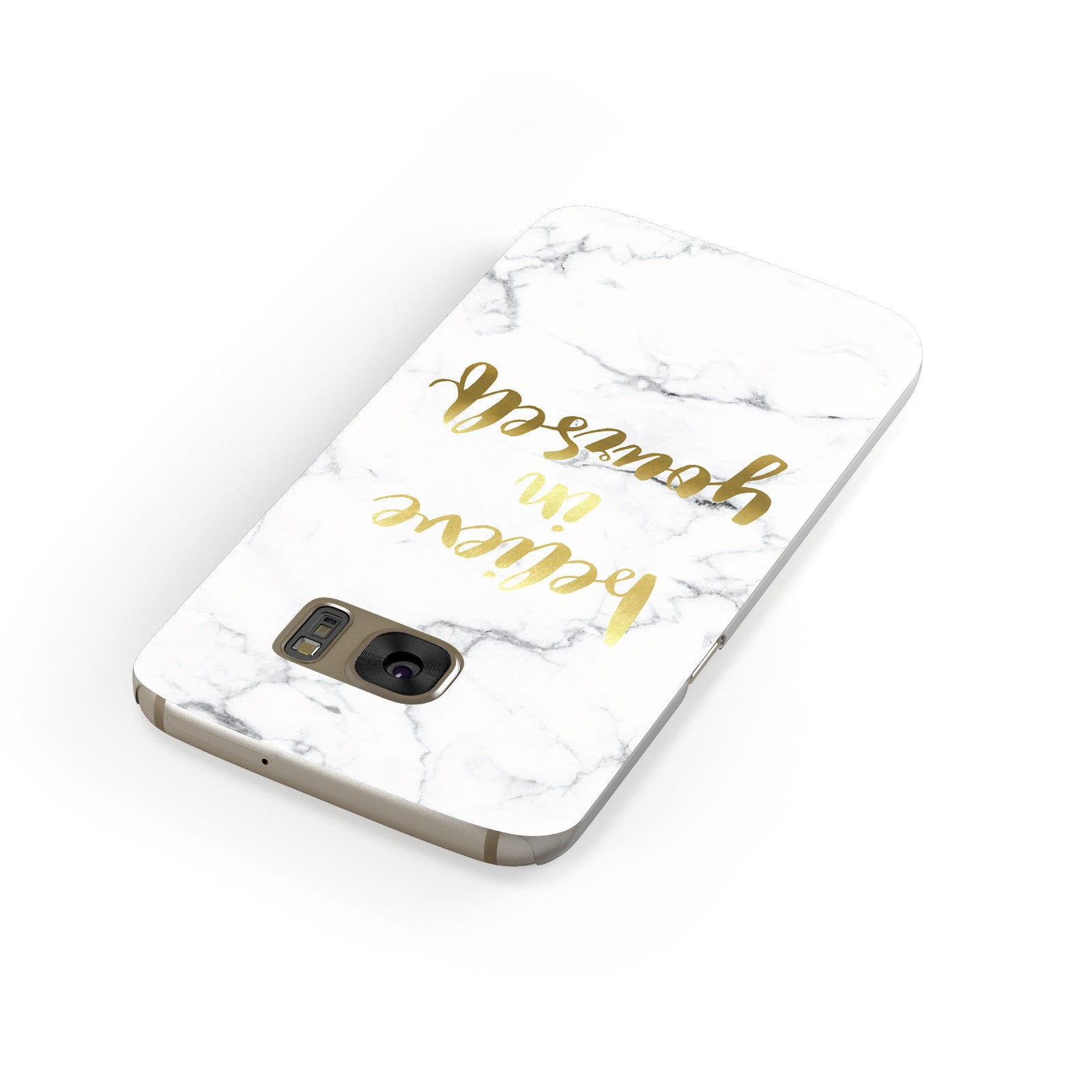 Believe In Yourself Gold Marble Samsung Galaxy Case Front Close Up