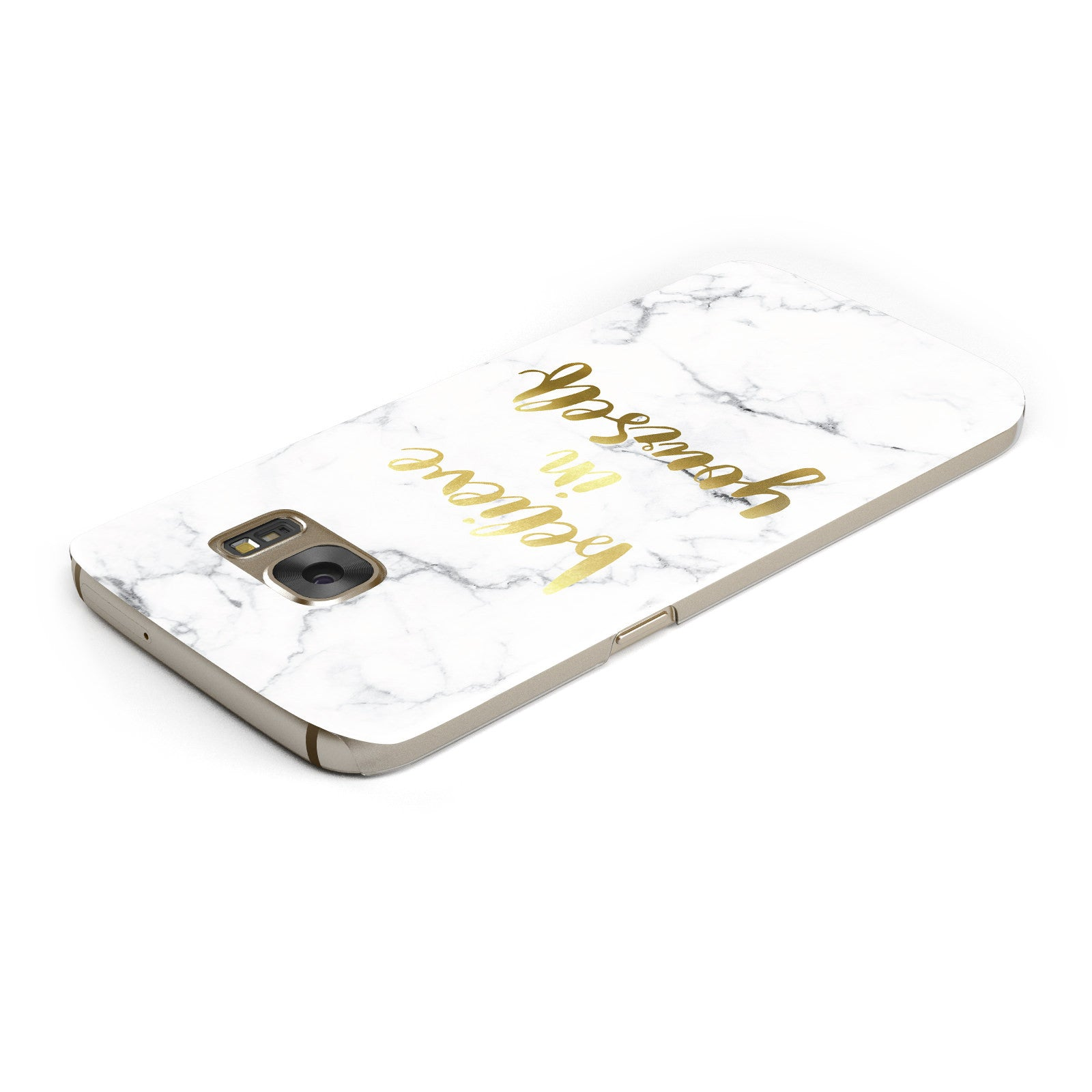 Believe In Yourself Gold Marble Samsung Galaxy Case Top Cutout