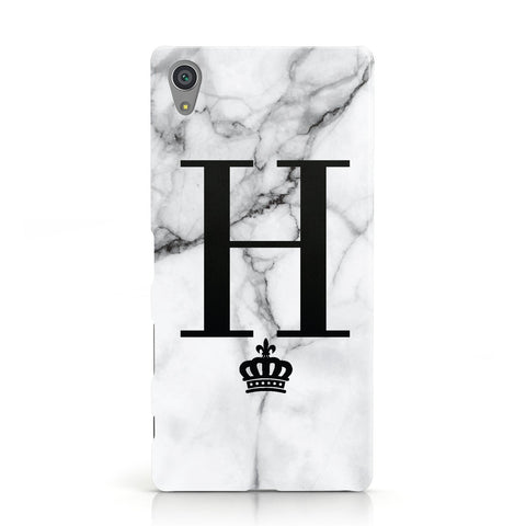 Personalised Big Initials Crown Marble Sony Xperia Case