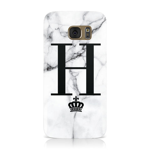 Personalised Big Initials Crown Marble Samsung Galaxy Case
