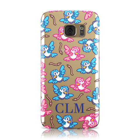 Personalised Birds Initials Clear Samsung Galaxy Case
