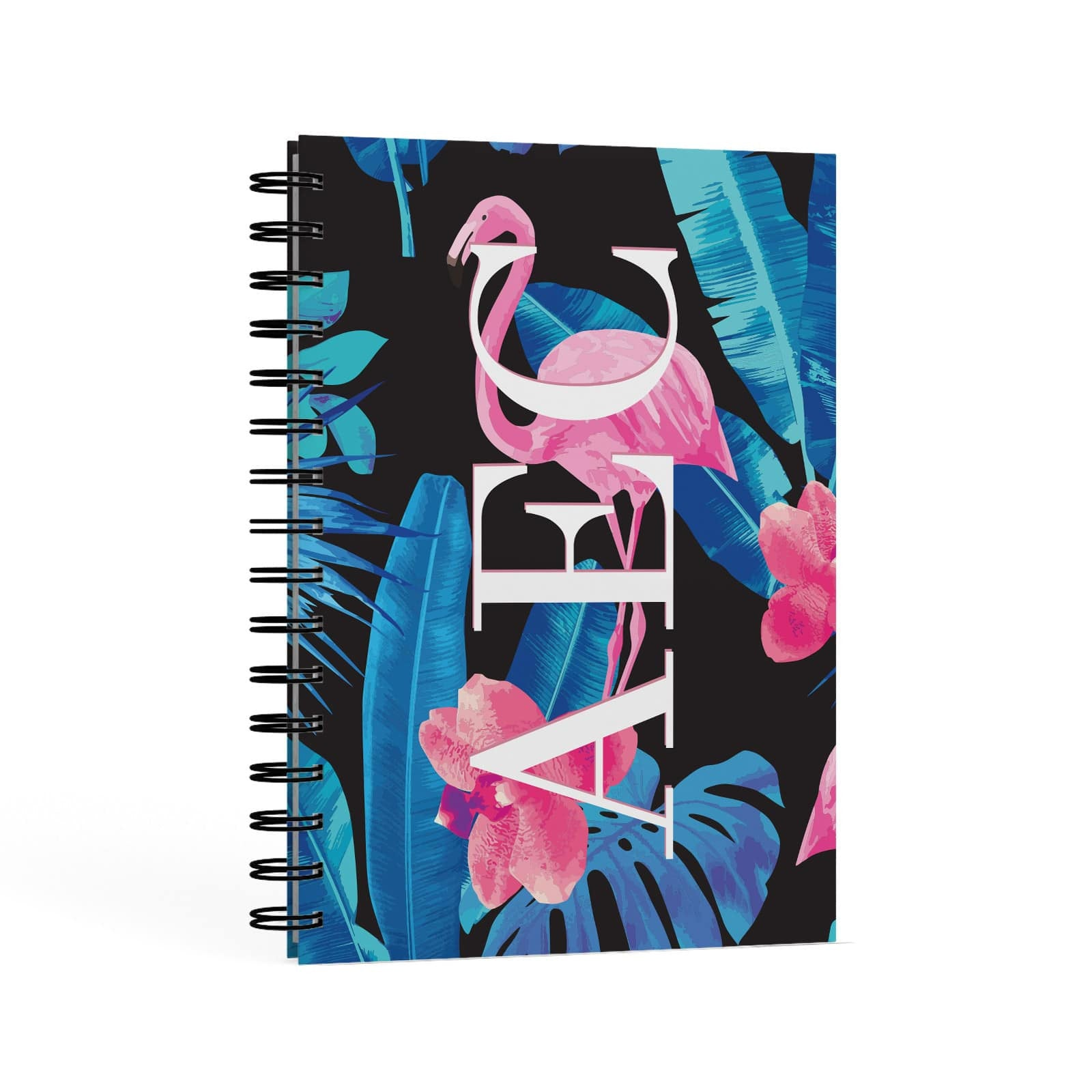 Black & Blue Tropical Flamingo A5 Hardcover Notebook Second Side View
