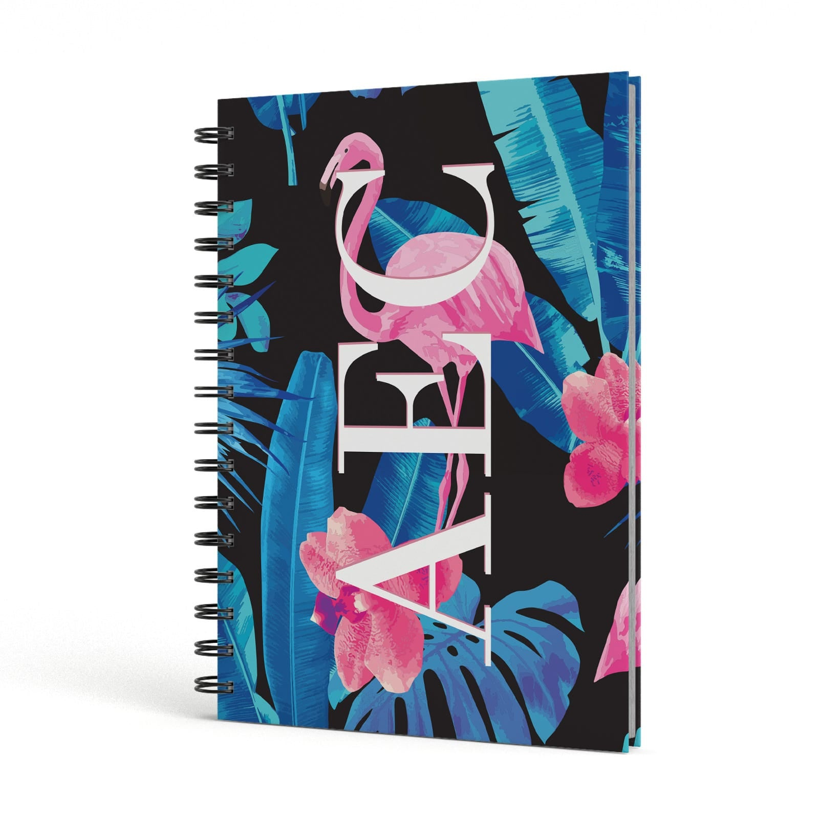 Black & Blue Tropical Flamingo A5 Hardcover Notebook Side View