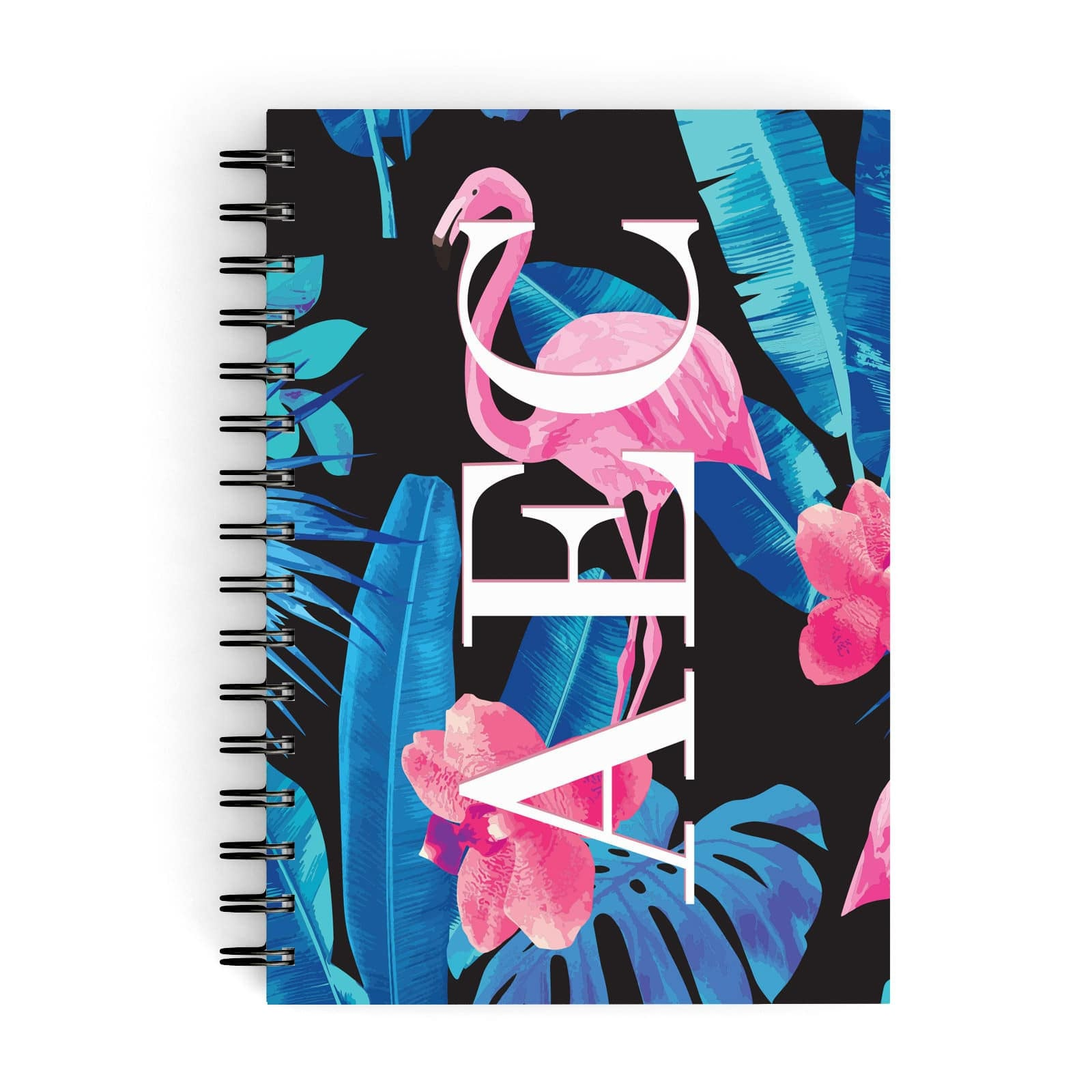 Black & Blue Tropical Flamingo A5 Hardcover Notebook