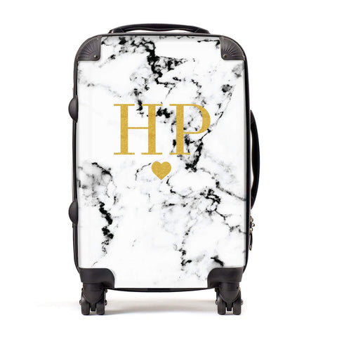 Black & White Marble Gold Monogram Personalised Suitcase