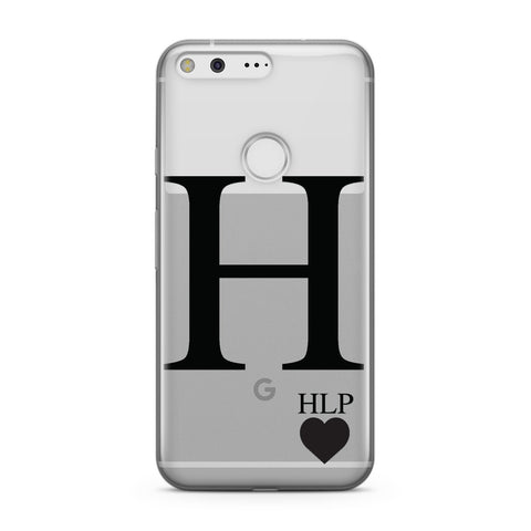 Personalised Black Big Initial & 3 Small Clear Google Case