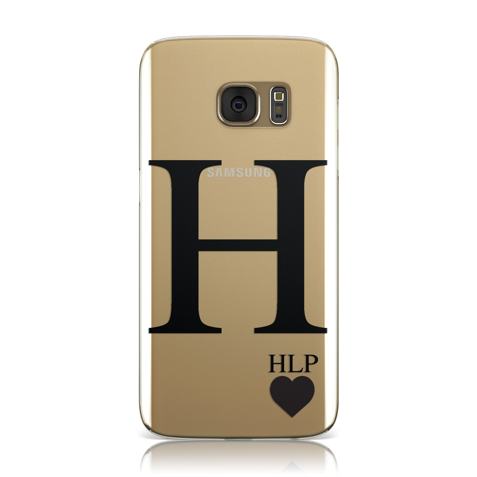 Personalised Black Big Initial & 3 Small Clear Samsung Galaxy Case