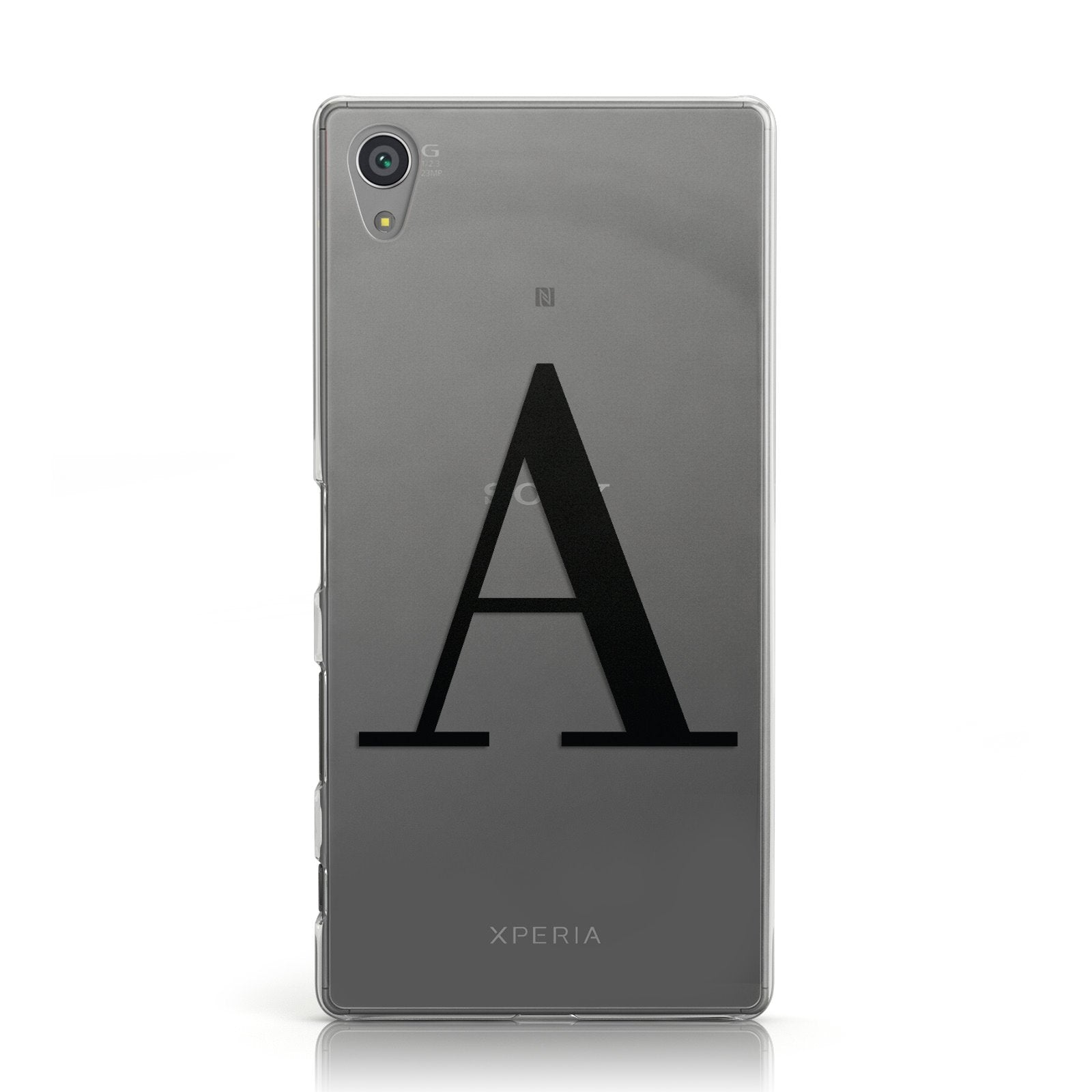 Personalised Black Big Initial Clear Custom Sony Xperia Case
