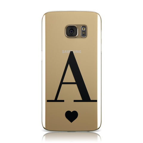 Personalised Black Big Initial & Heart Clear Samsung Galaxy Case