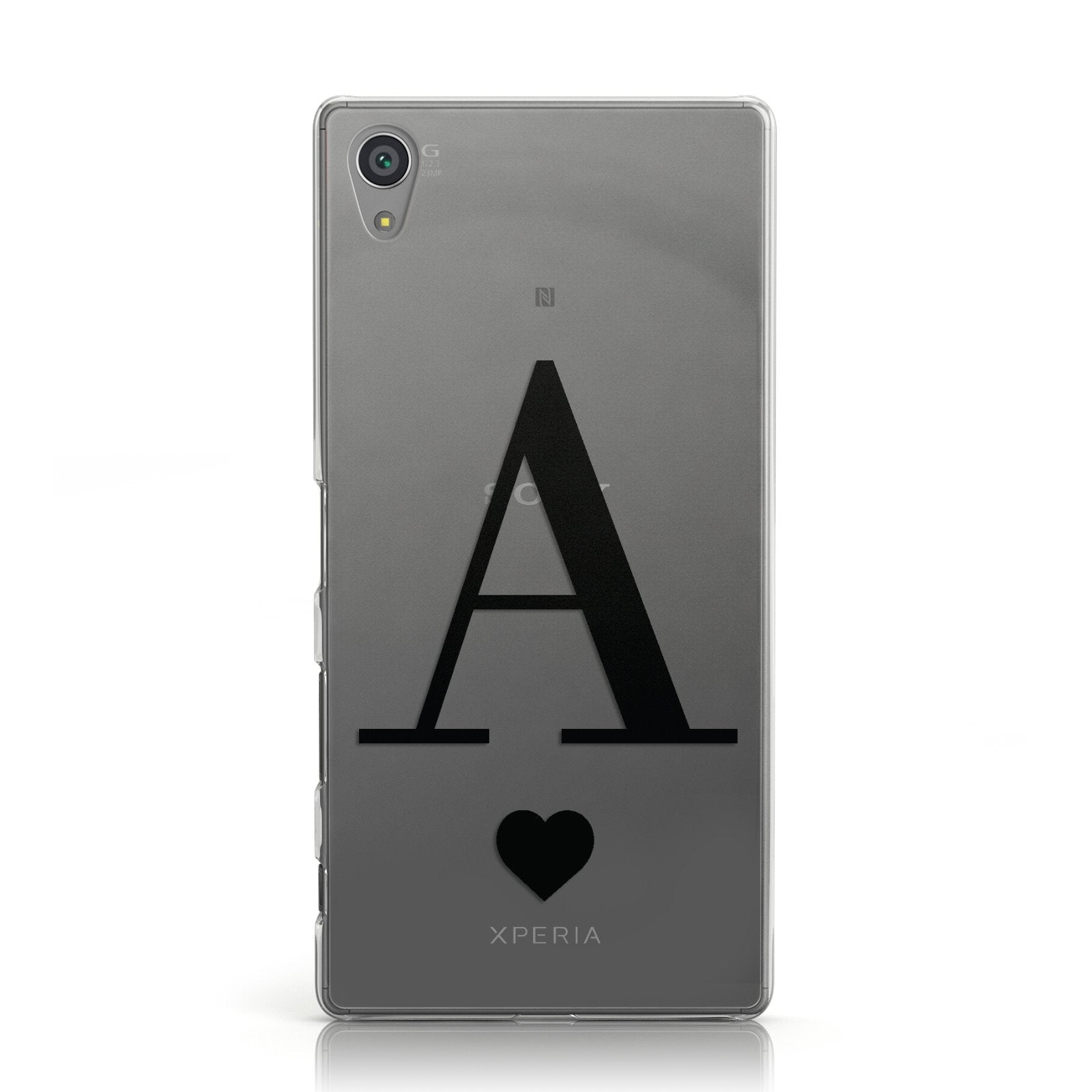 Personalised Black Big Initial & Heart Clear Sony Xperia Case