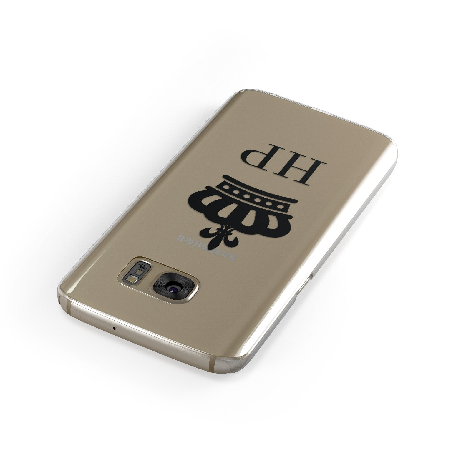 Personalised Black Crown & Initials Clear Google Case Front Close Up