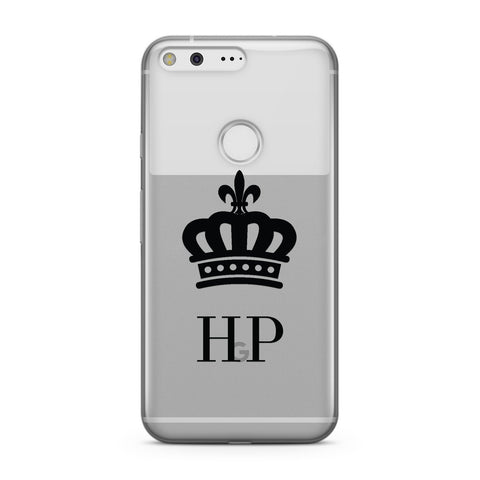 Personalised Black Crown & Initials Clear Google Case